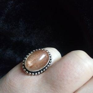 Peach Sunstone Ring, size 6.5